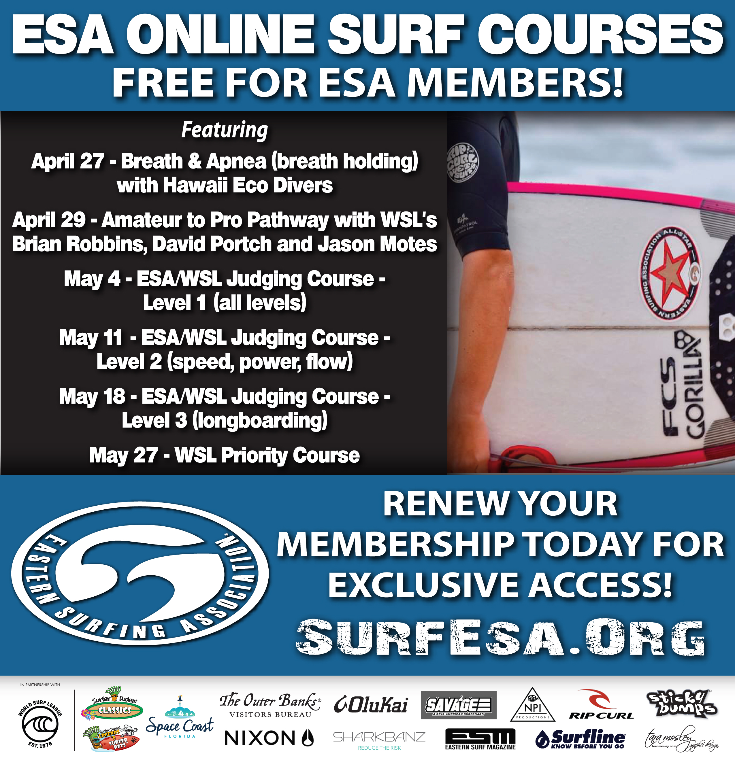 ESA offers FREE online surf courses to members